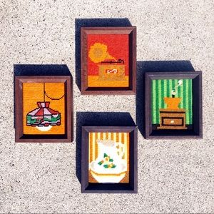 4 Hand Stitched 1970s MCM Gallery Wall Decor